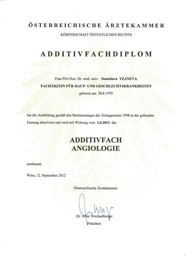 Diplom Zusatzfach Angiologie (Venenkrankheiten)