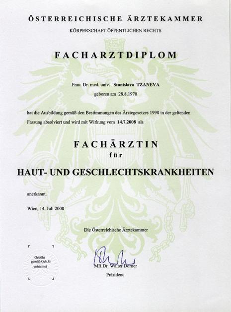 Facharztdiplom Tzaneva