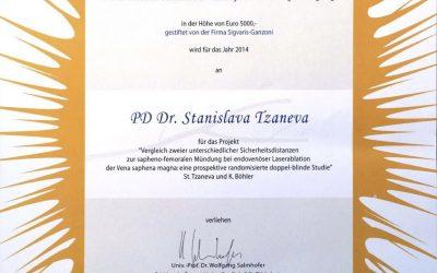 Doz. Stanislava Tzaneva erhält Peregrini-Förderungspreis
